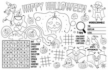 Vector Halloween Placemat For Kids. Fall Holiday Printable Activity Mat With Maze, Tic Tac Toe Charts, Connect The Dots, Find Difference. Black And White Autumn Play Mat Or Coloring Page.