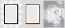 Layout Of Wooden Picture Frames (Black, White, Brown) In Colors. Realistic Vector Illustration