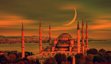 Vintage Old Photo Concept - The Blue Mosque With Crescent Moon (new Moon) -Sultanahmet, Istanbul, Turkey.
