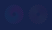 Dynamic Spiral Halftone Pattern. Abstract Dotted. Spotted Colorful On Dark Background. Vector Illustration EPS.10