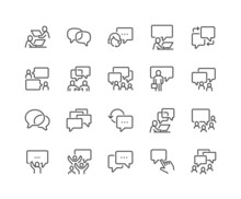 Simple Set Of Business Communication Related Vector Line Icons. Contains Such Icons As Meeting, Conference Call, Agreement, Chat And More. Editable Stroke. 48x48 Pixel Perfect.