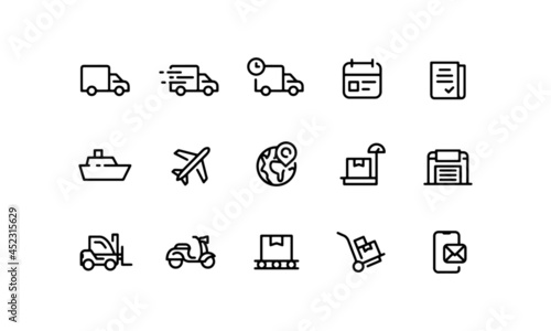 Fotografie, Obraz shipping icons set, delivery and logistics web icons
