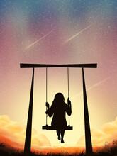 Beautiful Potrait Imagination Background With Women Swing