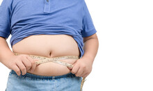 Obese Boy Measures His Fat Belly With A Measuring Tape Isolated On White