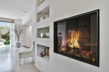 Stylish fireplace in a spacious living room