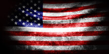 USA Wavy Flag In Grunge Style With Darkened Edges. Old Texture