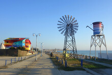 Empty Footway In Vama Veche Nonconformist Resort On The Black Sea Shore In Romania In Early Morning At The End Of The Summer Season