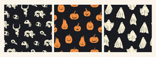 Cloth Ghosts, Orange Pumpkins, Animal Skulls. Halloween Concept. Cute Cartoon Spooky Characters. Holiday Silhouettes. Set Of Three Hand Drawn Trendy Vector Seamless Patterns. Background, Wallpaper
