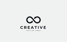 Two Heads Infinite Snakes. Loop Snakes Logo Template, Double O Logo Abstract.