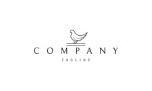 Vector Logo On Which An Abstract Image Of A Dove In A Linear Style.