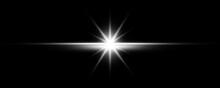 Sun Burst With Digital Lens Flare On Black Background. Supernova Explosion