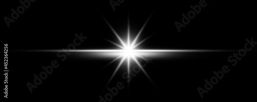 Stampa su Tela Sun burst with digital lens flare on black background