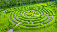 Topiary Garden In The Shape Of A Labyrinth.