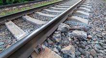 Damaged Railway Line, Close Up Danger To Trains.