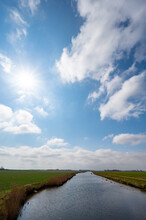 Dutch Landscape, Polders And Water Channels In Zeeland, Netherlands
