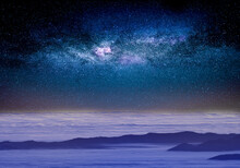 Starry Sky Above The Clouds, Mystical Magical Atmosphere.