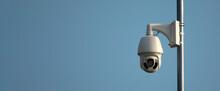 Swivel High Quality CCTV Camera On Sky Background.