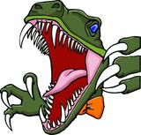Fototapeta Dinusie - biting velicoraptor with bow tie | dinosaur
