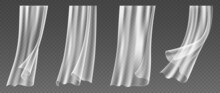 Set Of Realistic Window Curtains Blowing On Wind, Fluttering White Cloths Of Transparent Textile