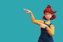 Portrait Of Smiling Positive Funny Casual Redhead Girl In Glasses Wearing Blue Apron, Yellow T-shirt Showing You Way, Pointing Her Finger To Empty Copy Space For Advertising. Minimal Style. 3d Render.
