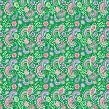 Seamless Paisley And Floral Pink And Purple Pattern