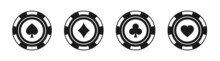 Poker Chips Black Icons Vector Set. Isolated Casino Poker Chip Logo. Poker Symbols With Spades, Hearts, Diamonds, Clubs. Playing Poker Concept. Vector Illustration.