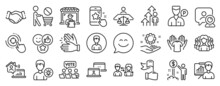Set Of People Icons, Such As Star Rating, Smile Chat, Person Idea Icons. Court Judge, Delivery Market, Hold T-shirt Signs. Clapping Hands, Online Voting, Employee Hand. Women Group, Person. Vector