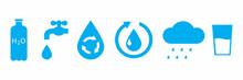 Water Drop Outline Icon. Liquid Drop Symbol. Eco Symbol. Recycle, Rain Icon Set. Vector Illustration. Stock Image.