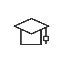 Graduation Hat Line Icon.