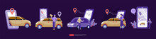 Online Taxi Or Rent Transportation Using Smartphone Service Application With Character And Route Points Location On Gps Map For Landing Page, Banner, Web, UI, Flyer. Car Sharing Illustration Concept