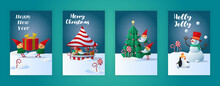 Bold Merry Christmas Greeting Cards. Colorful Posters With Gift, Christmas Tree, Snowman And Elves. Design Element For Cover And Social Network. Modern Gradient Collection Isolated On Blue Background