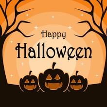 Orange Background Halloween Day Greeting Design. Pumpkin Ghost Design.