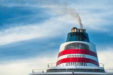"""横浜港に停泊している飛鳥Ⅱのファンネル 【Funnel Of A Japanese Cruise Ship Called """"Asuka II""""】"""