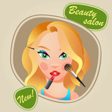 Concept Of A Beauty Salon. A Fashionable Beauty Salon. Cartoon Flat Style. Vector Illustration. Girls Paint Their Lips, Eyes And Cheeks. Beautiful Blonde Girl With Long Hair. Advertising Of A Beaut