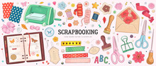 Collection Of Hand Drawn Art Supplies For Scrapbooking Isolated On Background. Vector Illustration