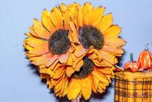 Artificial Yellow Sunflower Flowers And Pumpkins
