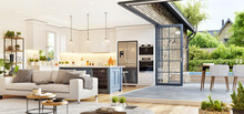 Modern Open Plan Living Room With Beautiful Kitchen. Cozy Patio Area With Garden Furniture