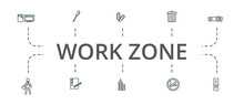 Work Zone Icon Set. Contains Editable Icons Theme Such As Clip, Office Man, Office Tower And More.