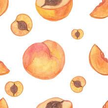 Seamless Pattern Of Peaches And Nectarines On A White Background