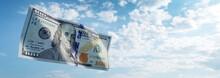 Money 100$ Dollar Bill Flying On Sky