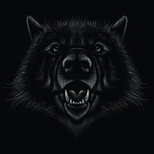 The Vector Logo Dog  Or Wolf For Tattoo Or T-shirt Design Or Outwear.  Cute Print Style Dog  Or Wolf  Background. This Hand Drawing Would Be Nice To Make On The Black Fabric Or Canvas.