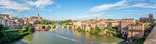 Panoramic View At The Albi Town With Tarn River And Old Bridge - France