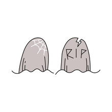 Halloween Concept. Hand Drawn Doodle Element For Halloween. Two Graves With Title Rip And Spider Web. Isolated Vector Illustration On White Background