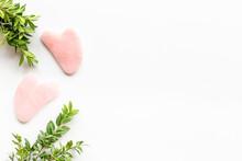 Rose Quartz Gua Sha Massage Stone With Green Leaves