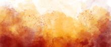 Dark Orange Yellow Sky Gradient Watercolor Background With Clouds Texture