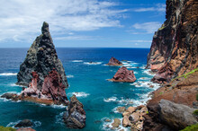Beautiful View Of The Blue Ocean With Cliffs. Sao Lourenco Peninsula, Madeira.