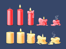 Burning Candles Flame Set. Cartoon Burning Yellow And Red Wax Candles On The Different Stages Of Burning From A Whole Before An Extinguished Candle To Cinder