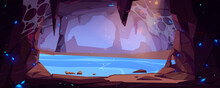 Underground Rocky Cave With Water And Blue Crystals. Vector Cartoon Illustration Of Empty Stone Cavern With Stalactites And Lake Or River. Old Mountain Grotto Inside