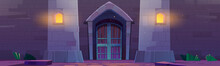 Medieval Castle Gate At Night, Palace Entry Exterior Arched Door, Fortress Towers And Light In Vents. Architecture Wall Of Stone Bricks, Fairytale Dungeon Building Facade, Cartoon Vector Illustration