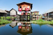 Myanmar. Inle Lake. Houses On Stilts